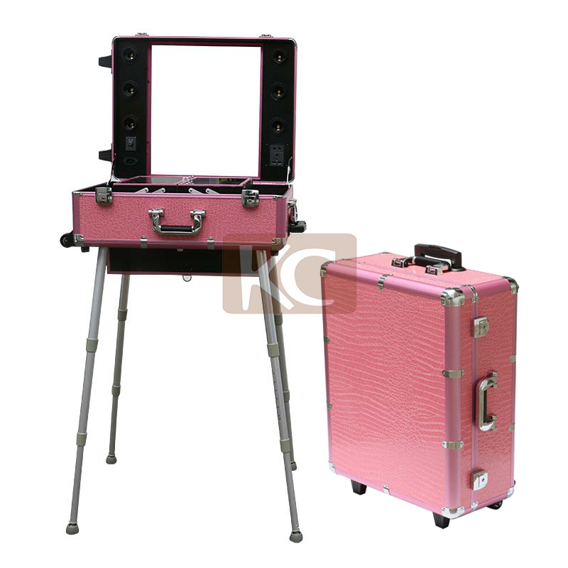 Professional Mini Aluminum Cosmetic Working Station,mobile station With Multi-functional Compartment, hair station portable case