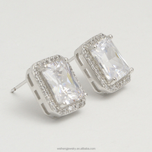 ladies earrings square zircon jewelry making accessories 925 sterling silver earring for women
