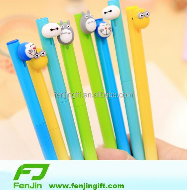 custom cartoon plastic ball pen with toy