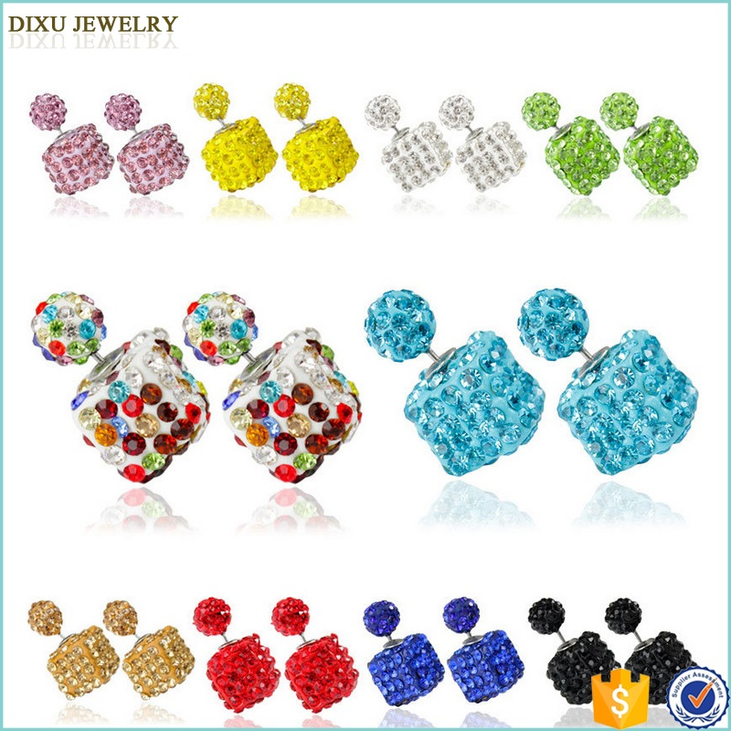 Jewelry Manufacturer China Christmas Ornament Double Side MixColor Cystal Stud Earring