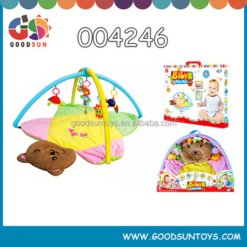 2015 Promotional plush annimals kids play mat foldable cute stuffed soft plush baby play mat