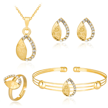 Full Rhinestones Hollow Water Droplets Gold-Color Necklace Sets Earrings Ring Bracelet Fashion for Women Jewelry Sets Party
