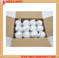 Sport official leather baseball plain white baseball with logo design printed