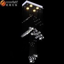 Modern LED Crystal Pendant commercial led narrow Chandelier Lighting OM9156