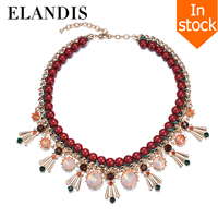 E-ELANDIS 2015 Manual series colorful crystal collar Acrylic bead choker necklace handmade rope bead necklaces for women NL13508