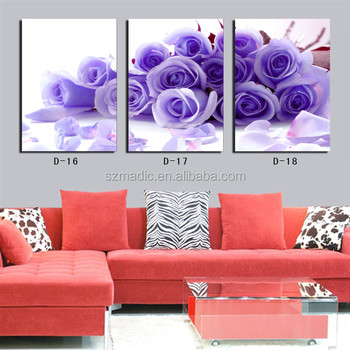Wall Art Home Decoration Modern Paintings 3 Panel Purple Roses Flower Printings