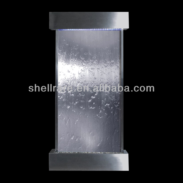wall waterfall decoration in stainless steel with led light