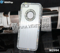 For iphone 5 Brushed Aluminum Case,Brushed aluminium plated back +Bling Diamond case For iphone5 5g