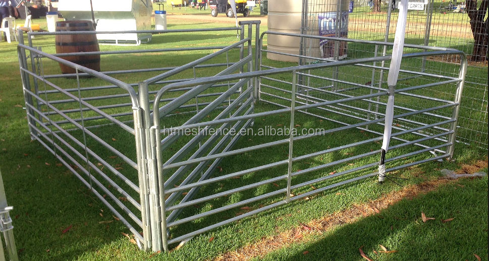 Economical Sheep Yard 1m High 2.9m Long 7 Rails Round/ Oval Pipe Panel With New Foot Design