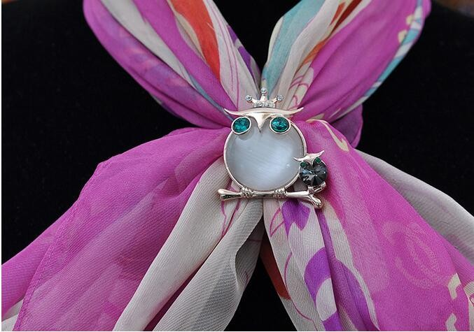 The Dual Purpose New Diamond Opal Scarf Buckle Crown Owl Scarf Buckle