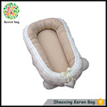 100% cotton white and light brown baby nest sleeping bag