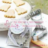 """The First Journey"" Baby Footprint Cookie Cutter Wedding Favors"