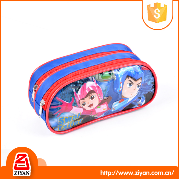 China hot sale kids cute zipper triple pencil case with compartments