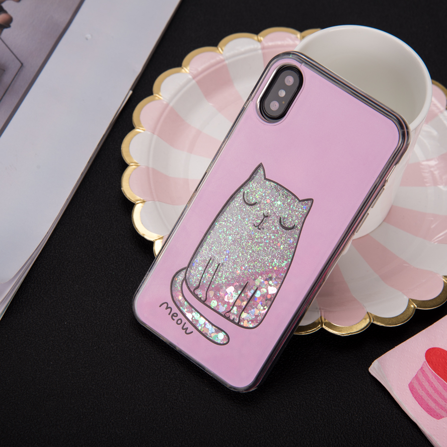 For iPhone X Liquid Phone Case , for iPhone X Glitter Mobile Phone Case , for iPhone X Flowing Cell Phone Case
