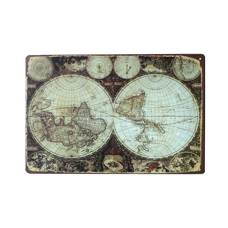 Custom Home Decor Wall Art Craft World Map Vintage Stamped Metal Signs