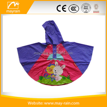 2017 Wholesale Custom Pattern Printed Polyester Kids Rain Poncho