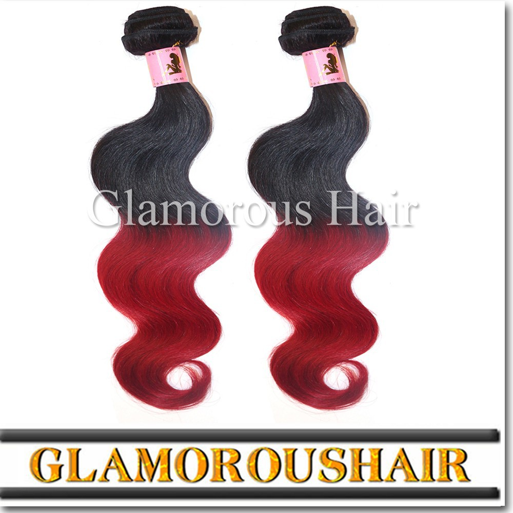 Wholesale hair price 1b#/Red ombre hair weaves