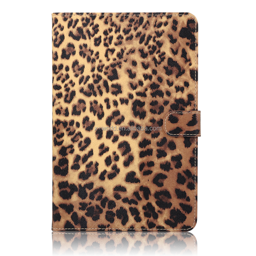 Shenzhen factory OEM full protect card slots stand leopard leather tablet case for ipad mini 4