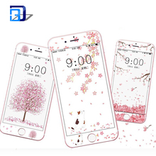 Custom premium 0.26mm 9H 2.5D arc edge HD cartoon full tempered glass screen protector 4.7 inch for iPhone 7 8