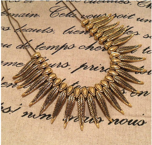 new style 2014 hot selling Vintage Golden Feather Style Chain Pendant Necklace