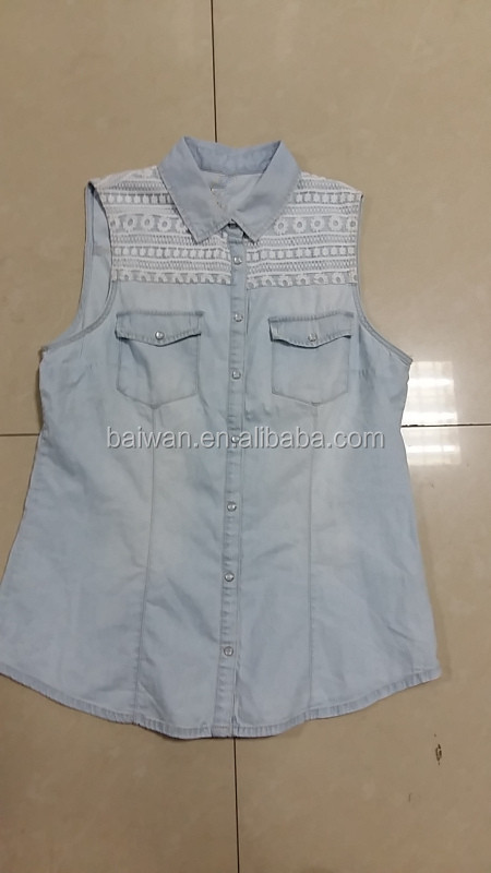 Stock clothing inventory clearance hot sale good quality lady's denim vest