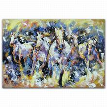 Handpainted house decor cartoon animal eight horses canvas oil painting