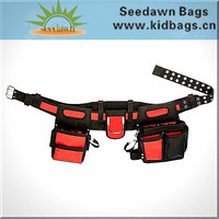 Detatchable Metal Pin Eyelet Hole Waist Belt Electrician's Tool Bag with Rivet Metal Ring Drill Holder for Outdoor Work
