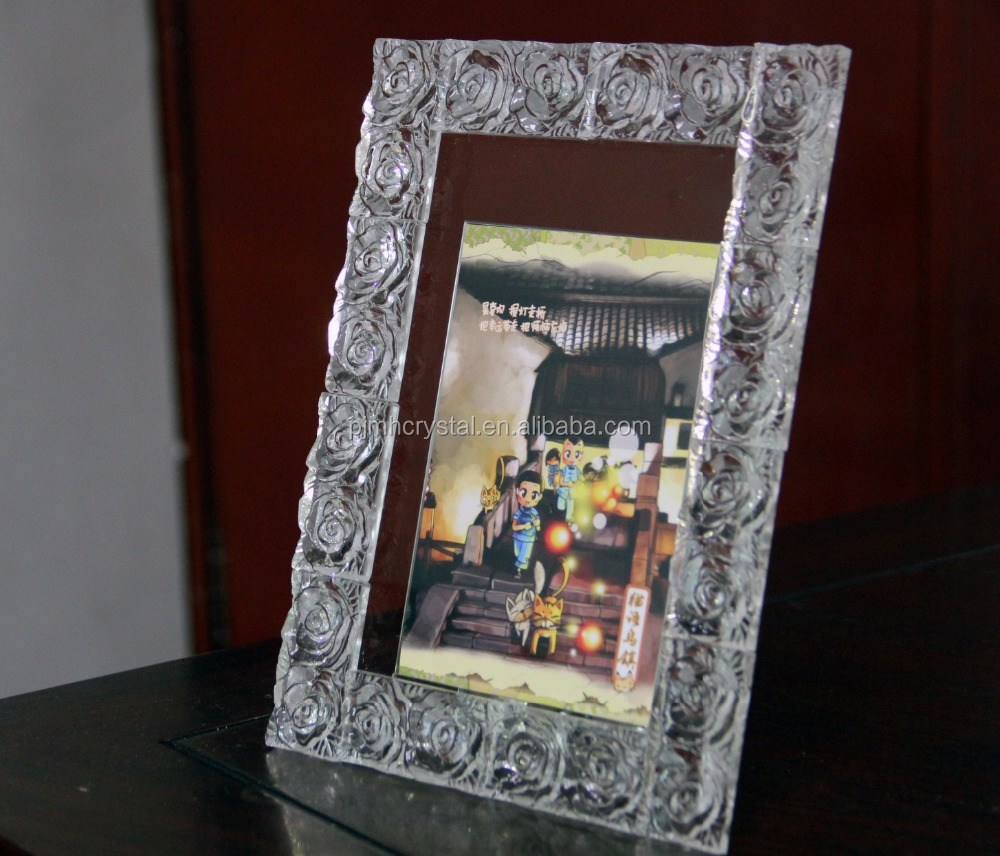 Nice quality crystal glass picture frame / funia glass photo frame wholesale MH-XK005