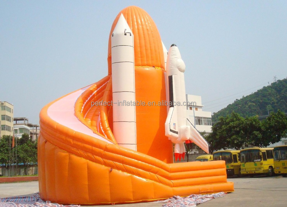 Spaceship inflatable super airplane slide, inflatable curving slide