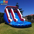 China Durable PVC Blue Inflatable Commercial Water Slide With Pool