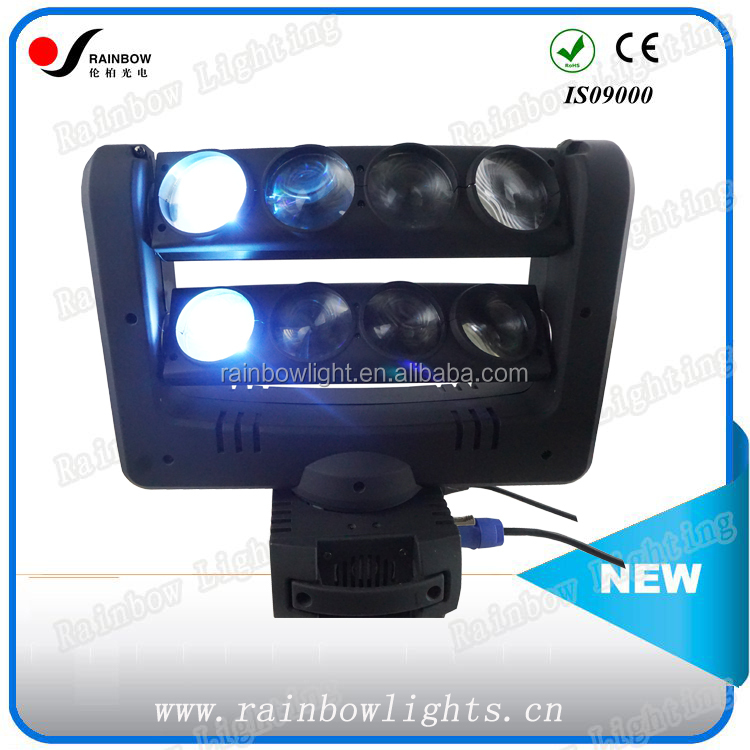 Running Topics 8 Pcs Rgbw 4 In1Led Disco Wash Moving Head Double Row 8 Eyes 10w Leds Beam Spider