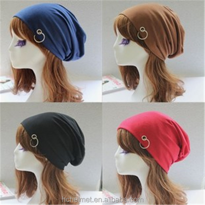 New Fashion Unisex Beanie Caps Top Quality Solid Color Wholesale Slouch Knitted Beanie Hat with Ring