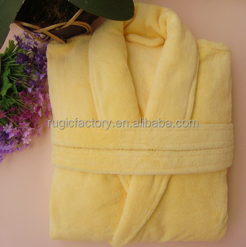 Super Soft Coral Fleece Bathrobe purple solid,orange color,yellow dyed,navy color