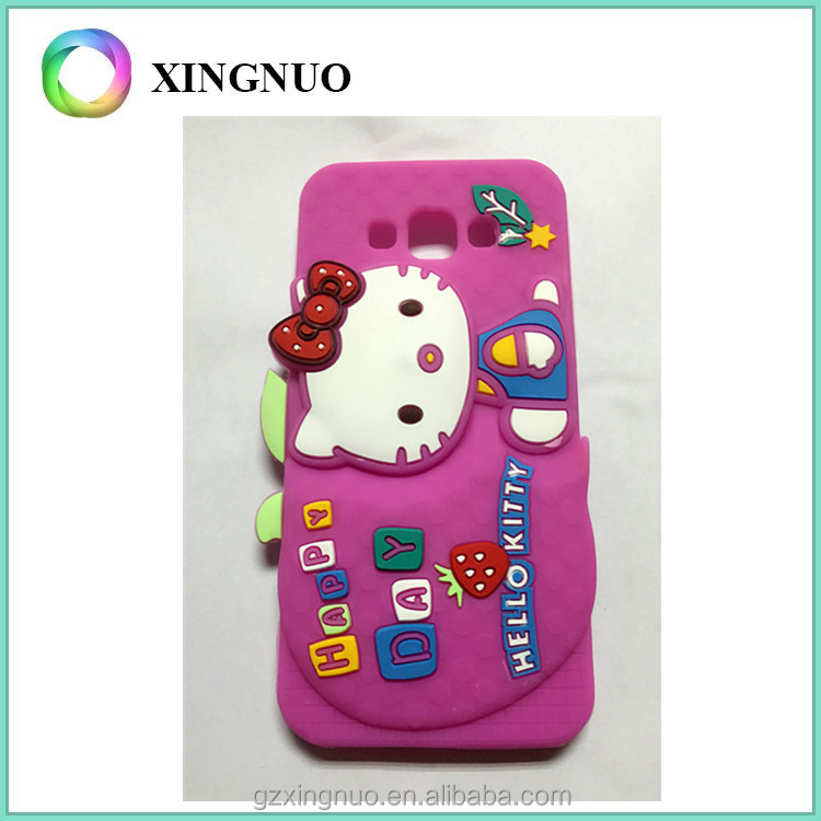 Pink color soft silicone women cartoon phone case for samsung E7