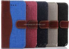 Hot selling leather wallet jean case for iPhone 6 with card slots