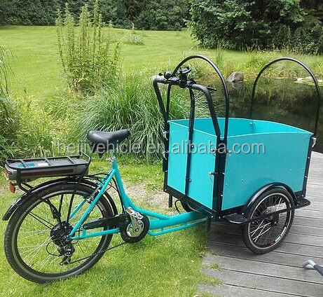 CE bakfiets pedal assisted shopping electric motorcycle/tricycle for cargo bike china