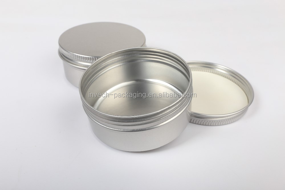 manufactured round aluminum box can 100ml/80ml/60ml/50ml,aluminum tea tin, twist tin,aluminum cosmetic jar with screw cap