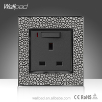 Wholesale Alibaba Wallpad Leather Material Frame UK 13a 1 Gang 3 pin Switch Socket with LED Indicator