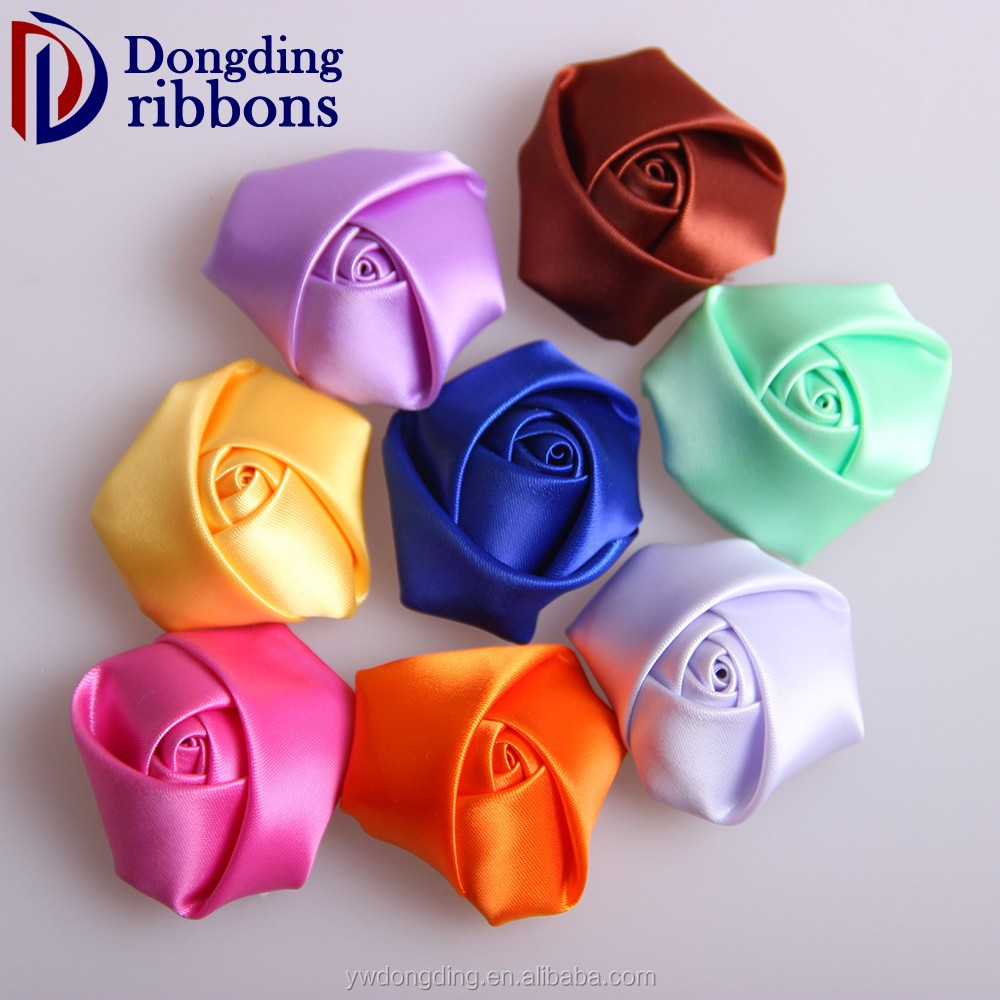 2016 wholesale handmade polyester rose ribbon bow for garment accessories