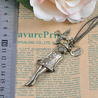Christmas Gift Women's French Handmade Long Statement Vintage Pendant Doll Necklace