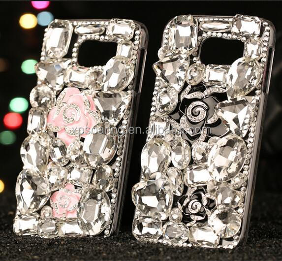 Diamond bling bling case cover for Samsung models, Rose flower rhinestone case for Galaxy S7