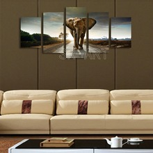 5 Panels Modern African Animal Decor Canvas Prints Elephone Photo Paintings on Canvas Wall Art Decor for Living Room
