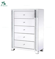 Wholesale Floating Crystal Design Mirrored Chest of Drawers Home Furniture