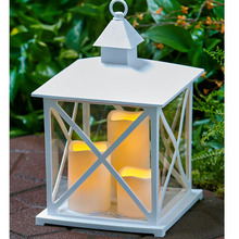 cheap large timer LED light glass decorative holder 3 candle lantern