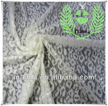 White leopard lace fabric with sequins embroidery for dresses