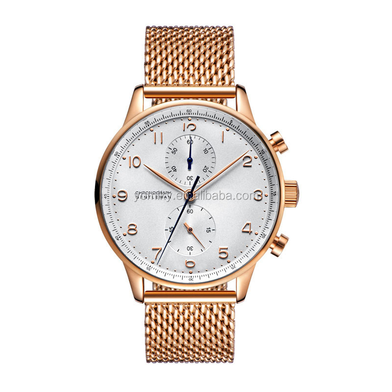 Rose Gold Mesh Band Watch Custom Luxury Watch Hot Quartz Men Stainless Steel Watch