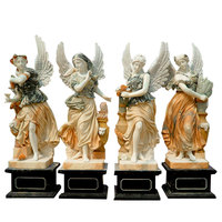 Life Size Natural Stone Garden Sculpture Four Season Goddess Angel Marble Statue