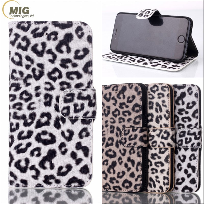 Fashion Leopard pattern leather flop standing wallet Case for Apple iPhone 7 cell phone case with card plug-in