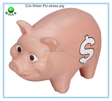 10.5X7.3X5.4cm PU foam pig shape stress ball/soft toy PU foam big pig for kids&adults/animals soft foam PU anti stress big pig