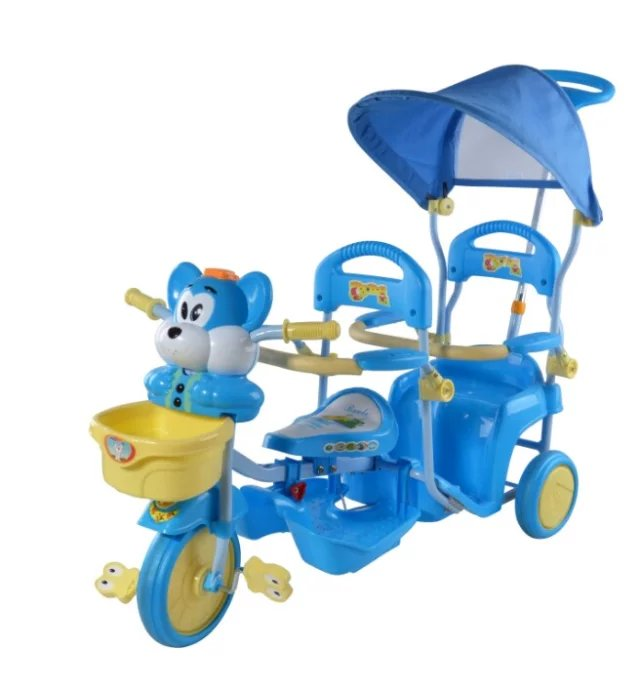 2017 newest china double bebe tricycles,outdoor twins trike cars toys for babies,3 wheel children bicycle plastic toy cars